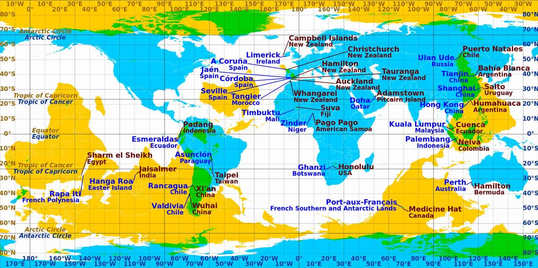 Mapa przedstawiająca Antypody
